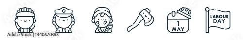 Fotografie, Obraz outline set of labour day line icons