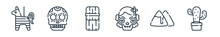 Outline Set Of Mexico Line Icons. Linear Vector Icons Such As Pi?ata, Skull, Tamales, Dia De Muertos, Nachos, Cactus. Vector Illustration.