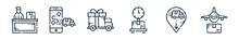 Outline Set Of Delivery Line Icons. Linear Vector Icons Such As Shipping, Smartphone, Gift, Weighing Scale, Delivery Truck, Airplane. Vector Illustration.