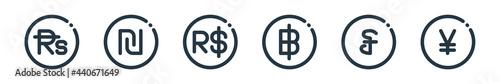 Fotografija outline set of currency line icons