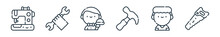 Outline Set Of Labour Day Line Icons. Linear Vector Icons Such As Sewing Machine, Wrench, Waiter, Hammer, Nurse, Saw. Vector Illustration.