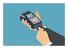 Hand Inserting Credit Card Into The EDC Machine In Isometric View