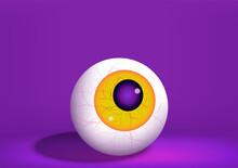 Eyeball. Abstract Eyeball With Yellow Iris Isolated On Purple Background. Anatomy Body Human. Halloween Concept. Design Monster Eyeball, Horror, Creepy, Evil. Vector Illustration.