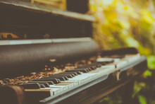 Old Piano In The Garden.soft Focus.vintage Style.
