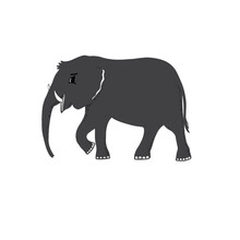 Graphic Grey Elephant Silhouette Animal