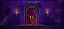 Broken Wooden Door In Medieval Castle. Old Wood Gate In Stone Wall With Flaming Torches At Night. Vector Cartoon Illustration Of Entrance To Dungeon, Prison Or Abandoned Fortress