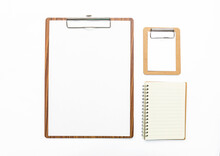 Wooden Clipboard With Blank Paper And Notebook Isolate On White Background, Education And Stationary Item, Office Object