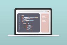 Web Development Programmer Engineering Coding Website On Laptop Screen Programming Software Application Design Horizontal Vector Illustration