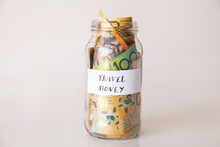 21 Money Jar Full Of Australian Notes For Holiday Trip