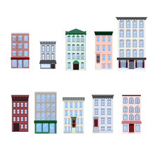 Set Of Flat Vector Illustration Of Walk-up Residential Apartment Buildings, Houses, Stores, Cafe, Restaurants. Isolated On White Background.