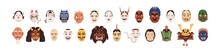 Set Of Different Japanese Noh Masks For Japan Theater. Asian Theatrical Faces Of Gods, Devils, Monsters. Colored Flat Graphic Vector Illustration Of Oriental Folk Heads Isolated On White Background