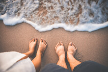 Traveler Couple Man And Woman Foot On Beach