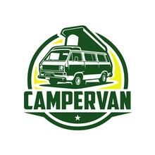 Campervan Circle Logo Vector Isolate