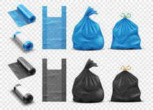 Realistic Plastic Bags For Garbage Set. Package For Rubbish, Full Trashbag And Packet Rolls