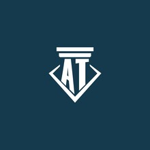 AT Initial Monogram Logo For Law Firm, Lawyer Or Advocate With Pillar Icon Design