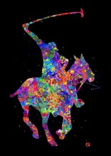 Polo Sport Horse Watercolor Art With Black Background, Abstract Sport Painting. Sport Art Print, Watercolor Illustration Rainbow, Colorful, Decoration Wall Art.