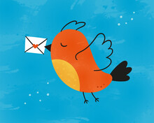 Cute Bird Carries A Love Letter. The Postman Bird. Valentine Card. Vector Illustration In Hand Drawn Style With Watercolor Texture.