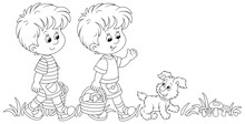Little Kids Mushroomers And Their Merry Pup Walking With Baskets And Gathering Mushrooms In A Summer Forest, Black And White Outline Vector Cartoon Illustration For A Coloring Book Page