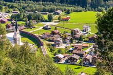 Aerial View Of Trun Village In The Graubunden Alps In Switzerland