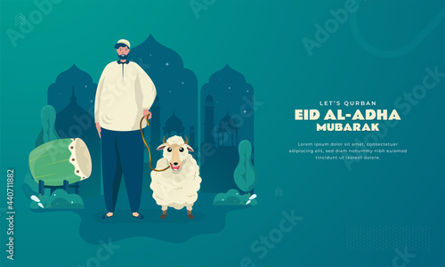 Canvas Print Let's qurban to celebrate of happy eid al-adha on islamic background concept