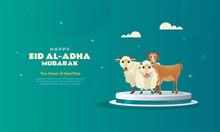 Islamic Banner With Sacrificial Animals Sheep And Goats For Eid Al-Adha Greeting Background