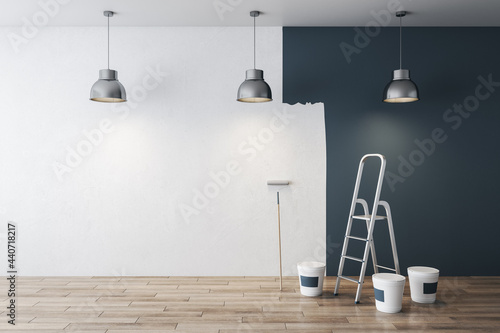 Modern grey interior before and after repairs with mock up place on white concrete wall and wooden floor. 3D Rendering.