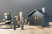 Black House With Golden Coin Stacks, Male, Female And Gavel On Concrete And Wooden Background. Divorce And Property Division Concept. 3D Rendering.