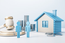 Blue House With Golden Coin Stacks, Male, Female And Gavel On Concrete Background. Divorce And Property Division Concept. 3D Rendering.