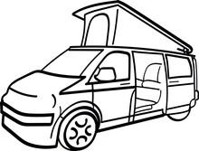 VW Campervan Camper Converted/Conversion Volkswagen Vector Illustration Icon Design