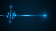 Blue Glowing Neon Heart Pulse. Heart Beat