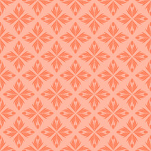 Seamless Pattern With A Pattern Of The Silhouette Of Tulips And Leaves. Design In Coral, Orange For Printing, Packaging, Fabric. Electric Tangerine. Damascus Styling. Vector Illustration
