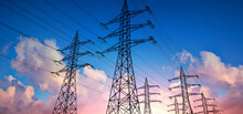 High Voltage Power Lines In The Sky - 3D Illustration