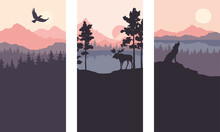 Abstract Landscape With Mountains, Firs And Wild Animals. Three Vector Illustrations. Twilight, Sunset.