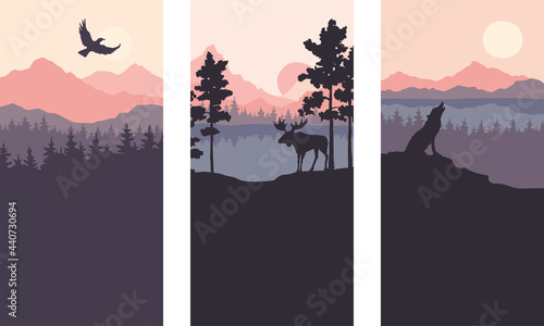 Fotografie, Obraz Abstract landscape with mountains, firs and wild animals