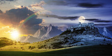 Day And Night Time Change Concept Above The Castle On The Hill. Composite Fantasy Landscape. Grassy Meadow In The Foreground. Rocky Peaks Of The Ridge In The Distant Background With Sun And Moon