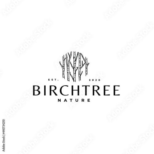 Birch Tree Plant Drawing Logo Vector Illustration Template Icon Fototapet