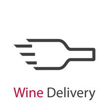 Logotipo Con Texto Wine Delivery Con Silueta De Botella De Vino Con Lineas De Velocidad En Color Gris