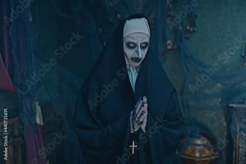 Fototapeta gothic nun in chapel