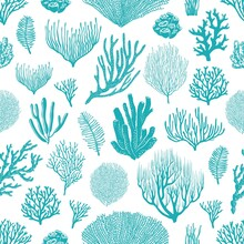 Sea Corals, Sponges And Seaweed Seamless Pattern. Marine Life Background, Ocean Bottom Species, Aquarium Animals And Plants, Underwater Flora And Fauna Backdrop, Textile Decoration