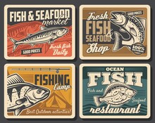 Fish And Seafood, Fishing Sport Vector Design. Salmon, Tuna And Flounder, Bass And Mackerel, Fisherman Catch Retro Posters With Fishing Rod, Spinning Reel, Lure And Bait, Camp Tent And Water Wave