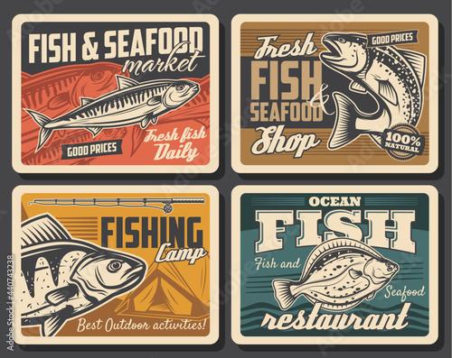 Fototapeta Fish and seafood, fishing sport vector design