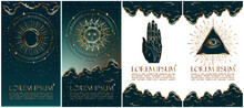 Collection Of Mysterious Vector Illustrations In Gold Colour For Stories Templates, Mobile App, Landing Page, Web Design. Occult Magic Background For Astrology, Divination, Tarot Concept.