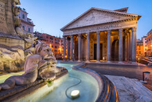 Pantheon And Fontana Del Pantheon In Rome, Italy