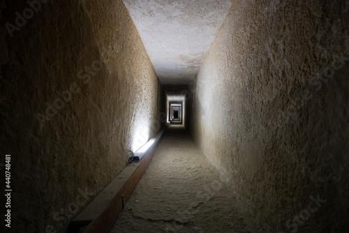 Tunnel entrance to the ancient Egyptian pyramid Fototapeta