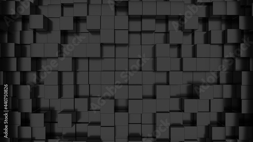 Fotografia 3D rendering of a pattern of black cubes for backgrounds and textures