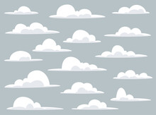 Cartoon Clouds Set Of A Collection Of Various Vector Cartoon Clouds On A Blue Sky Background