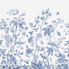 Mural. Bloom. Chinoiserie Inspired. Vintage Floral Illustration. Blue And White