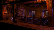 3D Rendering Of A Medieval Tavern With Tables Of Food And Drink Lit By Candles Seen From Behind The Bar.
