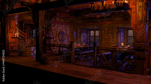 Fotografia 3D rendering of a medieval tavern with tables of food and drink lit by candles seen from behind the bar