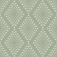 Decorative Dotted Diamonds Geometric Pattern, Olive Sage Green. Modern Elegant Boho Tribal Background. Moroccan Style Rhombus Diamond Shapes. Seamless Pattern Vector. Soft Wallpaper, Decor Print.